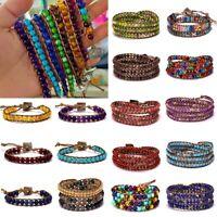 Chakra Armband Perlen Handgefertigt Regenbogen Natursteinen Armreif Modeschmuck