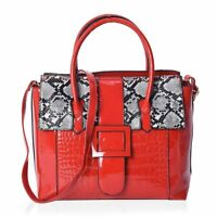 Red Faux Leather Snake Skin Pattern Tote Bag Handbag with Shoulder Strap
