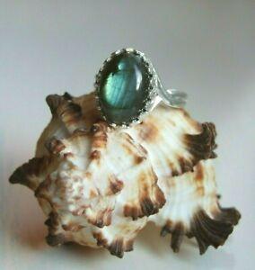 Blue Flash Labradorite Reiki Healing Gemstone Silver Plated Adjustable Ring