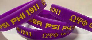 "4 Pack: Omega Psi Phi Armband Wristband: Larger Wrist 7 1/2"" - 8"""