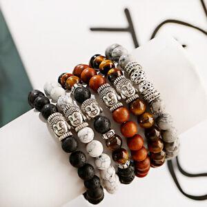 Men's Natural Stone Buddha Balance Meditation Bracelet Lava Rock Women Bracelets