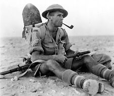 WWII B&W Photo New Zealand Soldier with Pipe and Enfield Rifle WW2 ANZAC  / 1090