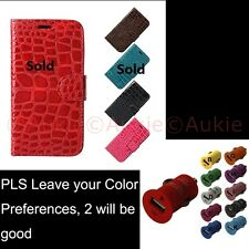 ONE Samsung Galaxy S4 Croc Skin Wallet Case + Sreen Protector +USB Car Charger