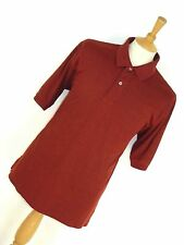 MENS IZOD RED WITH FINE CHECK PATTERN CLASSIC POLO T-SHIRT SHIRT L