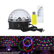 PROIETTORE LUCI SFERA MUSIC LUCE RGB LED PER PARETE USB DJ DISCO CON TELECOMANDO