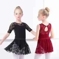 Girls Ballet Dress Gymnastic Leotards Lace Skirted Leotards Long Sleeve Kids 23