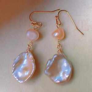 Natural Baroque fresh water Pearl eardrop gold Earrings Gift Wedding