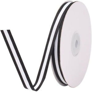 """25 Yards 3/8"""" Grosgrain Ribbon Double Face Black and White Striped Cotton Ribbon"""