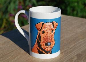 Airedale Terrier - single porcelain mug with original illustration.