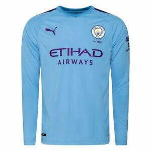 Man City Kid's Shirt Puma 2019-20 Home Long Sleeve Football Shirt - Blue - New