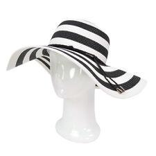Women's Elegant Floppy Wide Brim Striped Straw Beach Sun Hat - Diff Colors