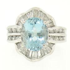 Platinum 6.10ctw Large Oval Aquamarine Round & Baguette Diamond Ballerina Ring