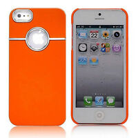 COQUE ETUI HOUSSE RIGIDE SILVER LINE ORANGE + FILM POUR APPLE IPHONE 5/ 5S