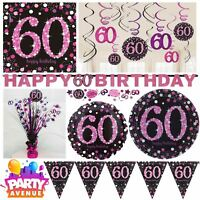Pink Sparkling Celebration 60th Birthday Party Tableware Decorations Balloons