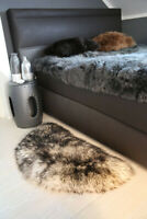 Lambskin Rug Semicircle Black Forest Long Wool Real Merino Sheepskin