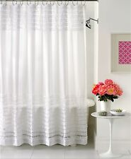 "Creative Bath Shower Curtain Sheer Ruffles 70"" x 72"" WHITE E01057"