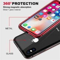 360° Magnetic Metal Bumper Tempered Glass Clear Case Cover For iPhone X/7 8 Plus