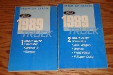 Original 1989 Ford Truck Light Duty Specification Book Vol 1 & 2 89 Bronco