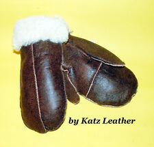 NEW HANDMADE Brown REAL SHEARLING SHEEPSKIN MITTENS MITTS GLOVES SIZE XS by KATZ