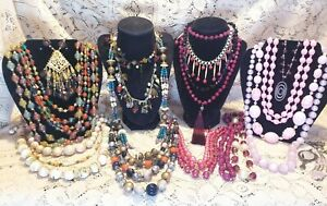 22 Piece Vintage and Modern Colorful Beaded Necklace Lot - 1928