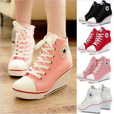Womens High Top Lace Up Canvas Sneakers Platform Wedge Heel Sport Shoes Plus SZ
