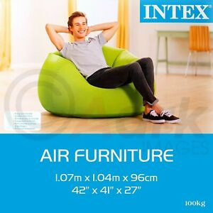 Intex Green Inflatable Beanless Bag Couch Chair Indoor Outdoor Camping Furniture