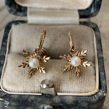 9ct Yellow Gold Snowflake Earrings set with 3mm Cultured pearl, Vintage Studs