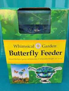 """WHIMSICAL GARDEN BUTTERFLY FEEDER ADJUSTABLE HEIGHT 17"""" TO 36"""" NEW"""