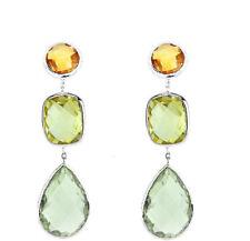 14K White Gold Earrings With Green Amethyst, Lemon Topaz And Citrine Gemstones