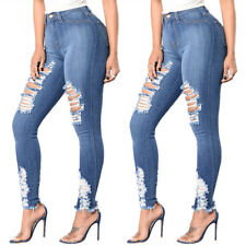 Womens Ripped Jeans Pants High Waist Stretch Jeggings Trousers Skinny Leggings