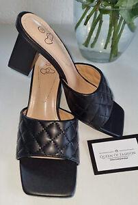 Coco Mules Block Heel Low Heel Slip On Square Toe Black 3 4 5 6 7 8 BNIB