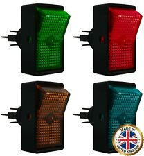 4 Piece Heavy Duty Red Green Blue Amber Illuminated On Off Rocker Switch 12V Kit