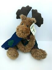 """Moose Plush 14"""" First & Main Spruced Jointed Moose Beanbag Scarf Overalls"""