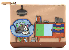 MALA Leather Beau Small Ladies Frappe Women's Coin Card Holder Cat Purse RFID