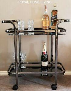 DRINKS TROLLEY BAR CART BLACK NICKEL TEMPERED GLASS SHELVES WINE WHISKEY STORAGE