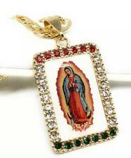 "Virgen Guadalupe Medalla Virgin Mary Pendant Necklace 26"" Cadena Oro Laminado"