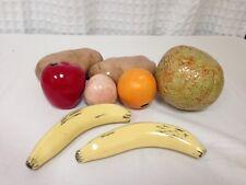 New 8 Pc Porcelain Faux Fruits Banana, Melon, Potato, Apple, Orange, Pear Peach