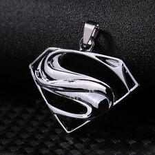 Unisex's Men Silver Stainless Steel Superman Charm Pendant Necklace Chain