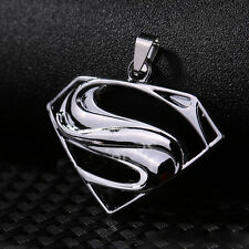 New Unisex's Men Silver Stainless Steel Superman Charm Pendant Necklace Chain