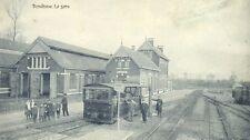 Reproduction photo de la carte postale de la gare du vicinal à Burdinne