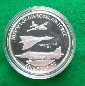 2008 1 oz  Silver Proof £5 History Of The Royal Air Force GUERNSEY Falklands War