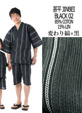 甚平 - Jinbei - Tenue traditionnelle japonaise LL - Black 02 - Import Japon