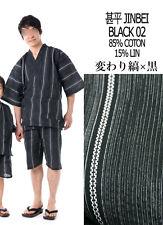 甚平 - Jinbei - Traje tradicional japonesa LL - Negro 02 - Import Japón