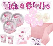 67 Teile Baby Shower Party Deko Set mit dem Motiv Rosa Storch 16 Personen Geburt