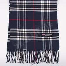 Women 100% CASHMERE Scarf Navy Blue tartan Plaid Design Soft MADE IN SCOTLAND