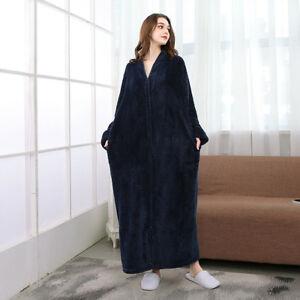 New Women's zip Flannel Dressing Gown Soft Long  Men Fleece Bath Robe House Coat