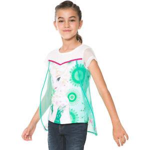 Desigual Frozen Girls Snow Queen T-Shirt Top Elsa Size 3 4 11 12 13 14 years