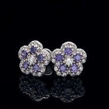 1CT Diamond Pave Amethyst Purple Flower Earrings 14k White Gold Studs Screw-Back
