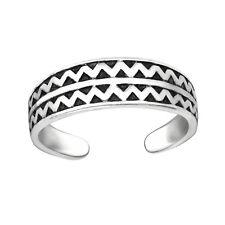 Tjs 925 Sterling Silver Toe Ring Zigzag Band Zig Zag Design Adjustable Jewellery