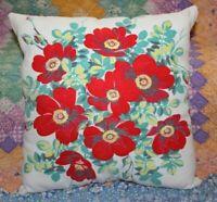 Throw Pillow From Wilendur Red Wildrose Farmhouse Mid Century Tablecloth